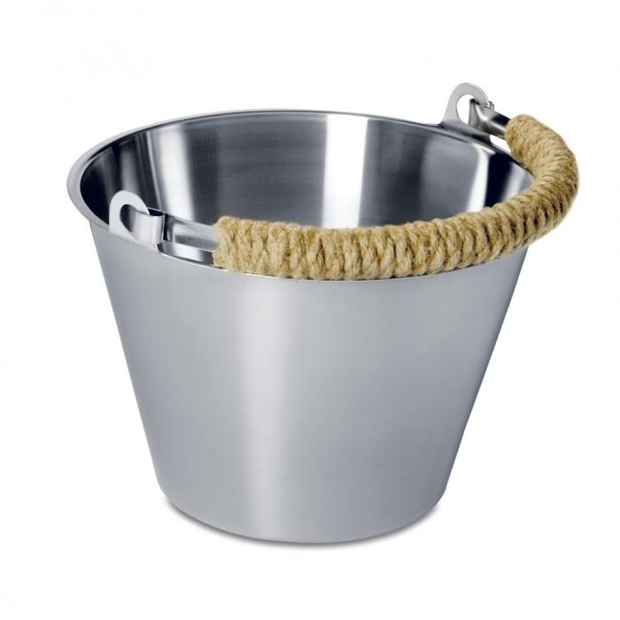 LUMO Sauna Edelstahleimer 8 L mit geflochtenem Seilgriff